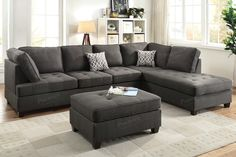 Poundex 2-Pcs Sectional Sofa F6988Description :Upholstered in a blend of smooth texture and colors, this 2-piece sectional defines any living space with a well-crafted furnishing for your home. Featuring ample seating space with tufting, a matching cocktail ottoman and accent pillows. Available in dorris fabric (ash black or dark blue).(Ottoman - optional )Materials:Ash black Dorris FabricPine WoodParticle BoardSolid wooden legDimensions:Chaise: 84