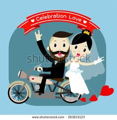 groom and bride character wedding invitation card template . vector illustration - stock vector