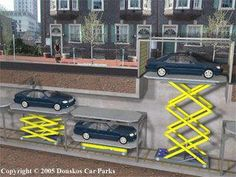 A robotic car park Dream Garage, Car Garage, House Extension Design, House Design, Safe Room Doors, Car Shed, Urban Ideas, Parking Solutions, Underground Garage