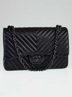 a54d0950880d Chanel Black Chevron Quilted Lambskin Leather So Black Double Jumbo Flap Bag  Chanel Bag Black