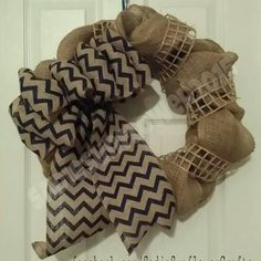 Burlap with chevron bow. Available at www.facebook.com/SadieSunflowerCrafts