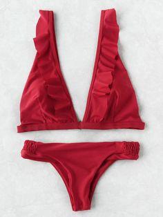 Frill Trim Plunge Neckline Bikini Set