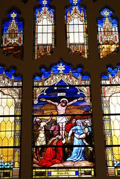 Stained Glass Christ and the Crucifixion