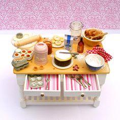 Christmas Preparation Table  - Dollhouse Miniature Accessories Handmade