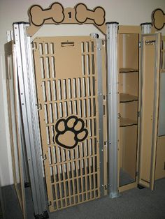 Dog kennels with built-in storage!  Easily keep food, treats, and medication with the dog!