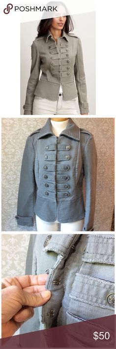 "BANANA REPUBLIC MILITARY JACKET Raw edged fun jacket.  Threes seams in back too a nice fit!  Cotton w/ 2% spandex. Runs small, use measurements. 18.5"" chest 16"" waist. Shoulder to hem 21"". Excellent condition Banana Republic Jackets & Coats Utility Jackets"