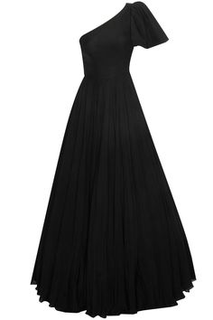 Black one shoulder bell sleeves gown available only at Pernia's Pop Up Shop.