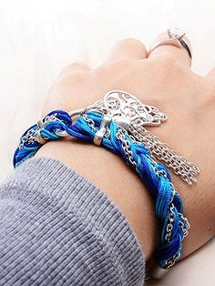 Blue Plaited Strap Detail Hamsa Hand And Heart Bracelet