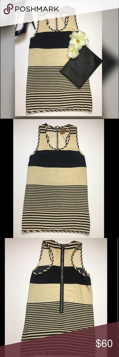 """Ali Ro Sleeves Dress * Size: 6 * Striped * Color: Beige/Black * Style: sleeveless, back zipdress * Underarm to underarm: 16"""" * Total length: 33"""" Condition: Like New Pre-owned: item that has been used or worn previously in great condition Ali Ro Dresses Maxi"""