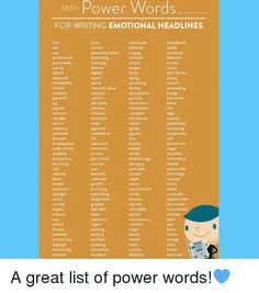 180+  Power Words  FOR WRITING EMOTIONAL HEADLINES  remarkable  confidential  wanted  sizable  absolutely lowest surging  essional  interesting  revisited  delivered  challenge  guaranteed  alert famous  highest  immediatel  unusual  the truth about  outstanding  simplistic  colorful  instructive  genuine  affordable  informative  ultimate  mainstream  popular  rare  complete  valuable  attractive  last chance  superior  how to  exploit  unparalleled  fascinating  competitive  gigantic…
