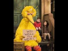 Imagine bumping into Big Bird at Knotty. A little bit of Sesame Street right around the corner.  Knotty by Nature Fibre Arts