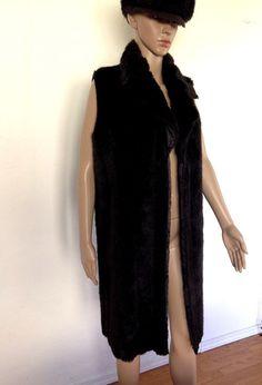 VTG Faux Fur long vest Dark Brown Chocolate Sleeveless Waistcoat Jacket Coat M #Unbranded