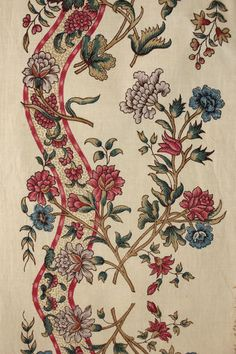 Antique 19th Century French Cotton Border Block Printed Floral Ribbon Fabric | eBay Textile Patterns, Textile Prints, Textile Design, Print Patterns, Vintage Textiles, Vintage Patterns, Floral Ribbon, French Fabric, Passementerie