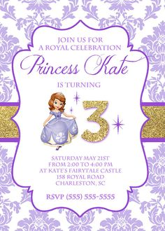 Sofia the first birthday invitation sophias birthday ideas this adorable one sided 5x7 birthday invitation comes customized for you with the wording of your choice after purchasing the design simply e mail filmwisefo