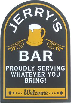 One of our many great home bar decor ideas. Personalized bar sign with BYOB theme, perfect for the man cave.