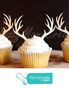 Set of 12 - Gold Glitter Deer Antler Cupcake Toppers - Birthday Cupcake Topper, birthday cake topper, wedding cupcake topper, Holiday, Christmas topper from Bizzy Moms Creations http://smile.amazon.com/dp/B0197KN2WQ/ref=hnd_sw_r_pi_dp_6WpLwb0TZVKVG #handmadeatamazon