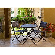 Cantina Bistro dining set allows you to entertain with distinction and charmPatio furniture collapses for easy storageGarden and patio furniture features a woven diamond pattern in polyethylene resin rattan material
