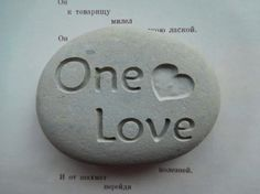 One Love engraved stone customized gifts by SeaStoneFrog on Etsy