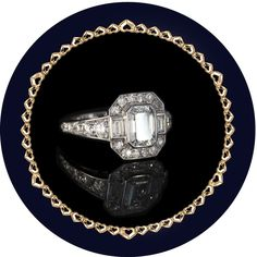MEI - Emerald Cut Diamond engagement ring set with antique eight cut diamonds in platinum Emerald Cut Diamond Engagement Ring, Emerald Cut Diamonds, Diamond Cuts, Bespoke Jewellery, Jewels, Antiques, Antiquities, Antique, Jewerly