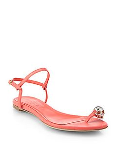 Alexander McQueen Skull Toe Ring Leather Sandals