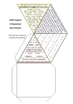 All four VCOP element pyramids on one desktop manipulative resource for higher level creative writing - lower and middle primary / elementary. Teaching Writing, Writing Skills, Teaching Tips, Writing Ideas, Primary English, Grammar And Punctuation, English Writing, English Lessons, Guided Reading