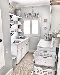 """Obtain great tips on """"laundry room storage diy budget"""". They are actually accessible for you on our web site. Laundry Room Colors, Laundry Room Organization, Laundry Room Design, Laundry Storage, Pottery Barn Shelves, Laundry Room Remodel, Laundry Rooms, Basement Laundry, Laundry Decor"""