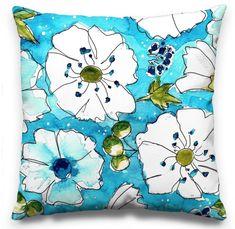 Aqua is a colour that makes so many people feel calm and happy. Art Desk, Pillow Design, Surface Design, Florals, Aqua, My Arts, Calm, Throw Pillows, Colour