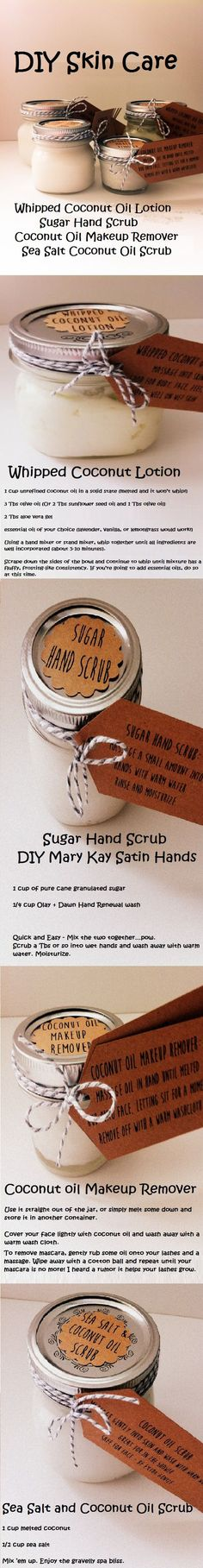 Love these quick and easy DIY skin care recipes. I like to use organic ingredients. Whipped coconut oil lotion recipe.  Sugar had scrub recipe (just like Mary Kay's Satin hands).  Coconut Oil Makeup Remover and Seal Salt Coconut Oil Scrub recipe.