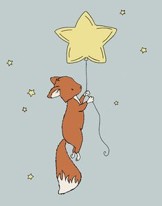 Fox Nursery Art Fox Star Balloon No. 2 by SweetMelodyDesigns