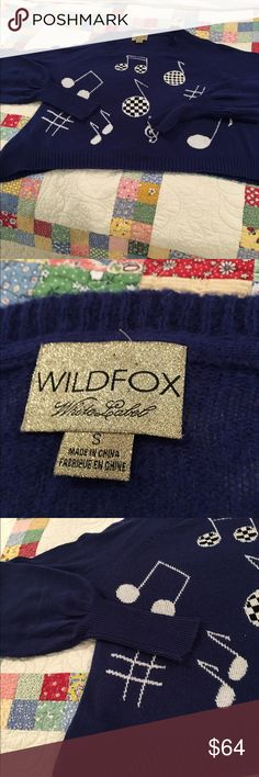 EUC WF white label music notes sweater sz small Navy blue swing sweater with music notes filled with checkered patterns and others are just solid white. This is an oversized swing style sweater with large comfy arms and length that makes it perfect with jeans or shorts. Wildfox Sweaters Crew & Scoop Necks