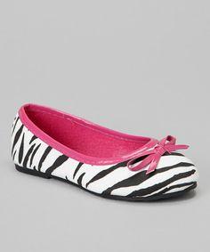 Fuchsia Zebra Bow Ballet Flat
