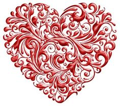 red scroll heart