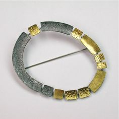 "sydney lynch jewelry | Tectonic"" silver gold pin"