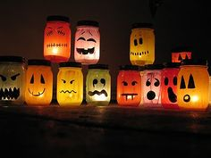 Amanda of Crafts by Amanda takes Martha Stewart's idea one step further, turning jack-o-lantern jars into literal lanterns. Set these along your windowsill on Halloween, or use them for accent lighting at a Halloween party.