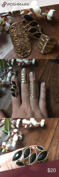 Set of 3 Statement Rings Three gorgeous statement rings. I'm not sure of their exact sizes but I would recommend for those who wear between size 6 and 7. I usually wear size 8 and they are all a little too small for me. Jewelry Rings