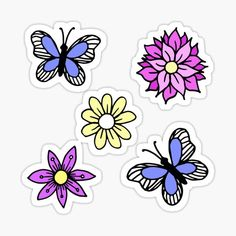 A sticker set featuring a variety of pastel colored flowers and blue butterflies. Make sure to get at least Medium size so you can see all the details. Shop more sticker sets in my store: julieerindesign.redbubble.com • Millions of unique designs by independent artists. Find your thing. Cute Laptop Stickers, Pastel Flowers, Blue Butterfly, Finding Yourself