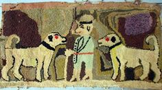 Antique Hooked Rug Folk Art Figural Two Dogs Man W Pipe (12/16/2007)
