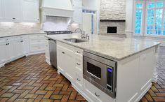 Kitchen with Brick Floor, Transitional, Kitchen, CR  Home Design