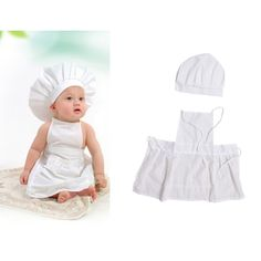 afff63347a4 Cute Baby White Cook Costume Photo Photography Prop Newborn Infant Hat  Apron Chef Clothes DIY Funning Booth Props for Kids-in Clothing Sets from  Mother ...
