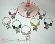 Wine Glass Charms  Butterflies and by CardsAndMoreBySheri on Etsy, $21.99