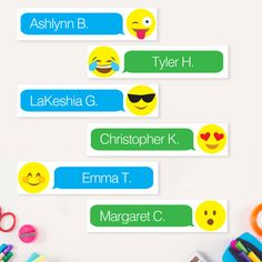 Customized printable emoji name tags for student desks! Teacher By Design