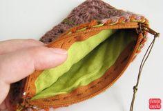 Brown Crochet Coin Purse Terracota Granny Square por petiteutile