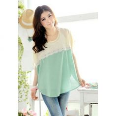 $8.00 Women's Lace Splicing Chiffon Casual Shirt With Batwing Sleeves Lace Embellished Refreshing Design
