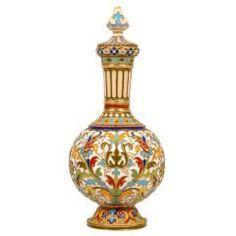 Rare Early Antique Russian Cloisonné Enamel Standing Perfume Flask by Rückert