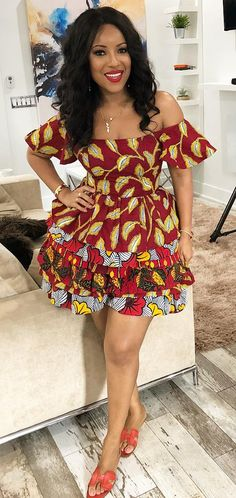 African print dress, Joselyn Dumas in african wear fashion Short African Dresses, Latest African Fashion Dresses, African Print Dresses, African Print Fashion, African Prints, Fashion Models, Fashion Outfits, African Fashion Traditional, African Attire