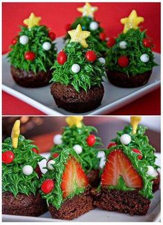 1. Make Chocolate Cupcakes and Cool.  2. Wash and dry strawberries. remove stems.  3.Secure strawberries on top of cupcakes.  4. Decorate.