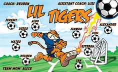 Lil Tigers B52937  digitally printed vinyl soccer sports team banner. Made in the USA and shipped fast by BannersUSA.  You can easily create a similar banner using our Live Designer where you can manipulate ALL of the elements of ANY template.  You can change colors, add/change/remove text and graphics and resize the elements of your design, making it completely your own creation.