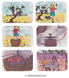 Los Niños: Καρτέλες (έγχρωμες) για τον κύκλο του κρασιού 1