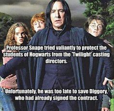 Harry Potter, Snape, Twilight, Cedric Diggory, Hermione, Ron, Saved by Snape, Too Late