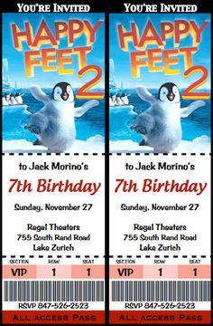 Happy Feet 2 Birthday Invitation Movie Ticket By Poshtique 800 Stitch 2nd